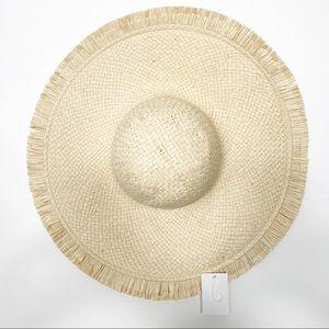 Wide Brim Straw Hat with Straw fringe edge